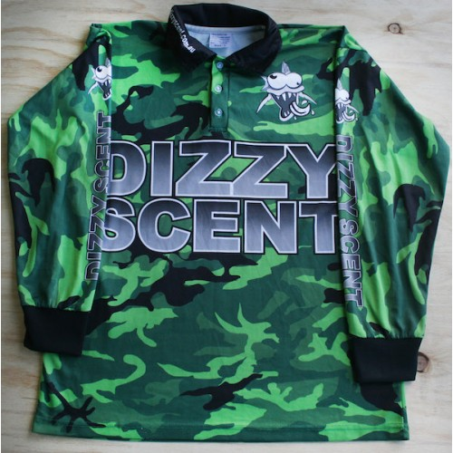 Dizzy scent custom fishing shirt green camouflage 50 for Camo fishing shirt